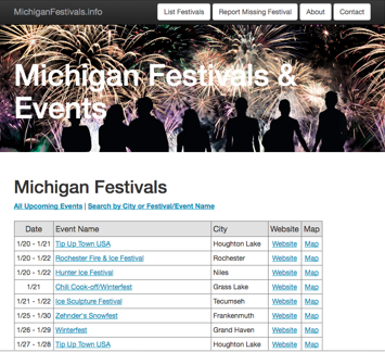 MichiganFestivals.info website created by R3 Web Solutions